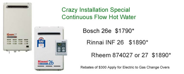 Continuous Flow Gas Hot Water Heater Specials on Installation