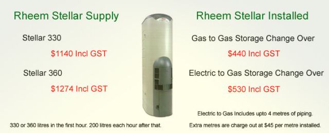 Rheem Stellar Price and Installation Cost.  Rheem Stellar 330 and 360 Available